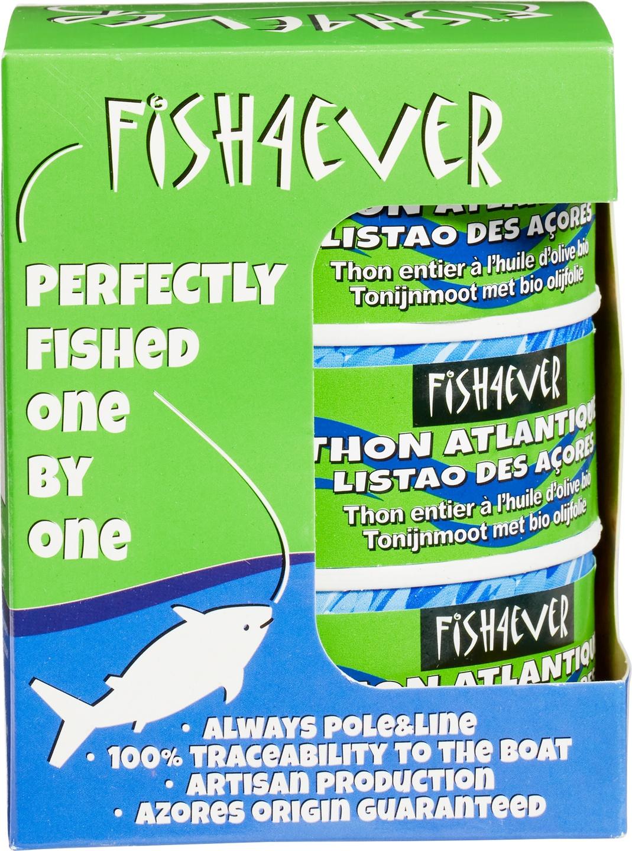 Biologische Fish 4 Ever 3-pack tonijnmoot met olijfolie 3 st