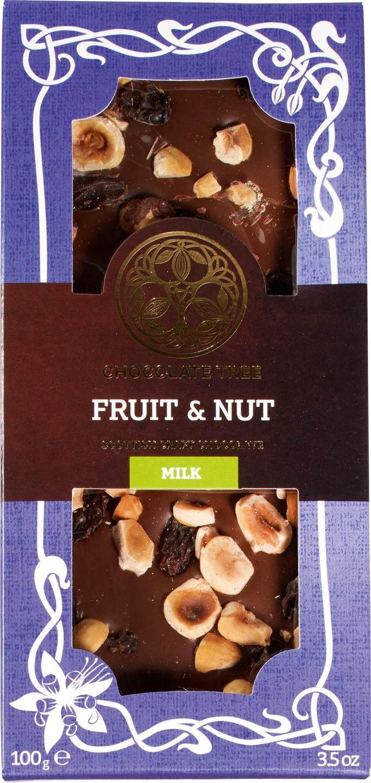 Biologische Chocolate Tree Melkchocolade fruit noten 100 gr