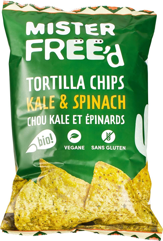 Biologische Mister Free'd Tortillachips boerenkool spinazie 135 gr