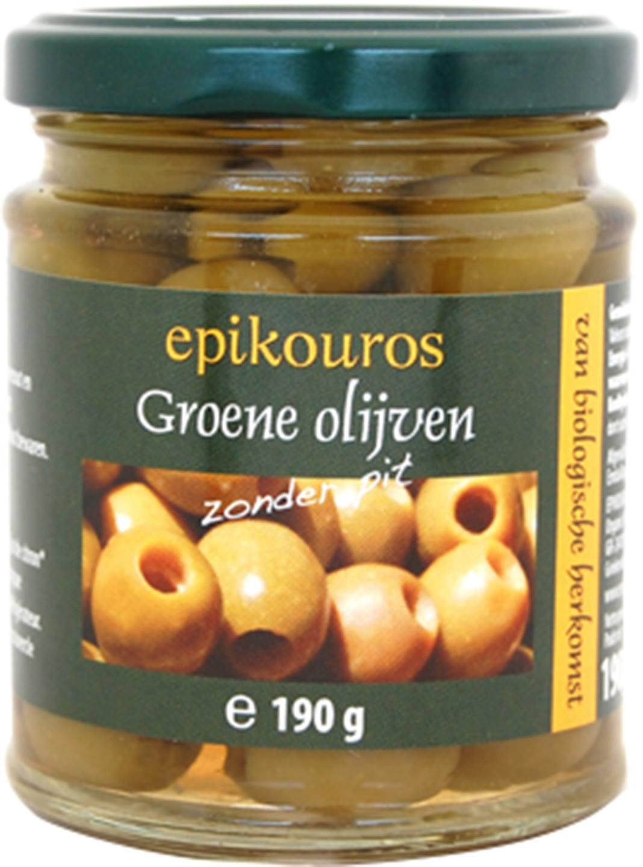 Biologische Epikouros Groene olijven pitloos 190 gr