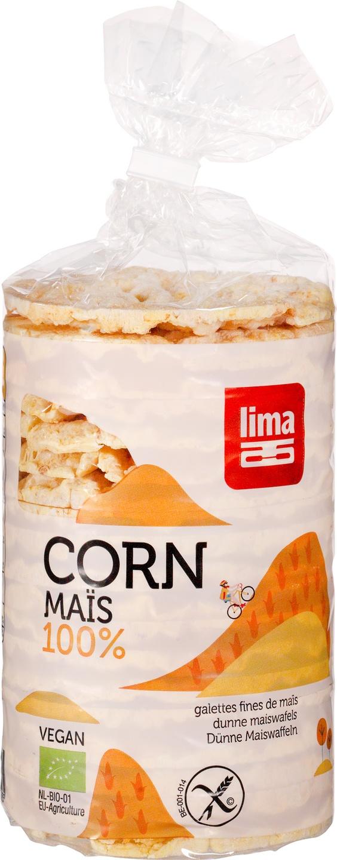Biologische Lima Dunne maïswafels rond 120 gr
