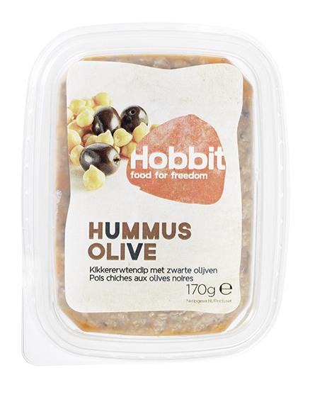 Biologische De Hobbit Hummus-olijf sandwichspread 170 gr