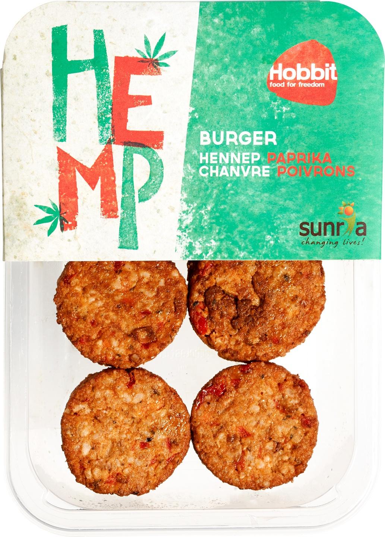 Biologische De Hobbit Hennepburger met paprika 150 gr