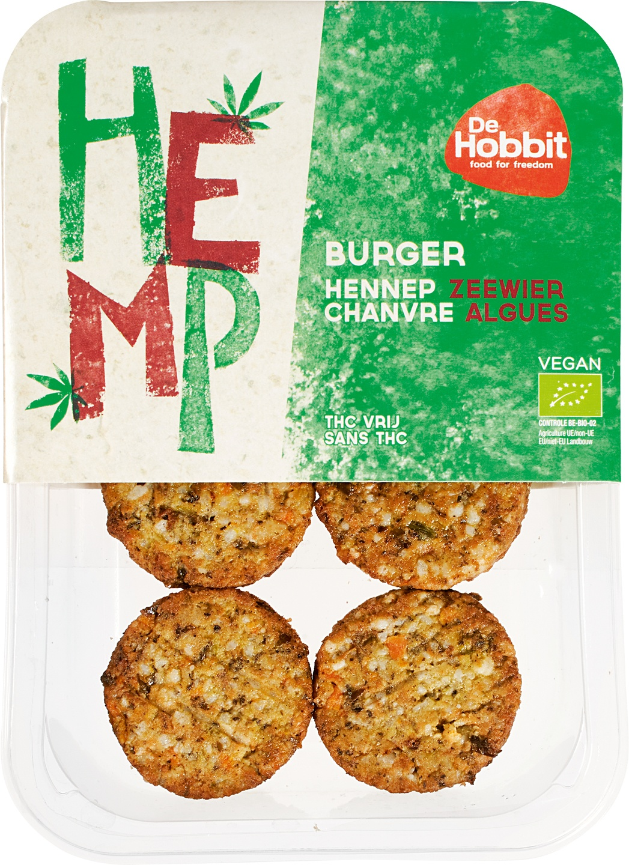 Biologische De Hobbit Hennepburger met zeewier 150 gr