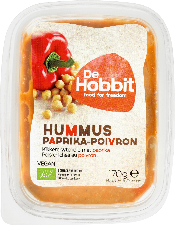 Biologische De Hobbit Hummus paprika 170 gr