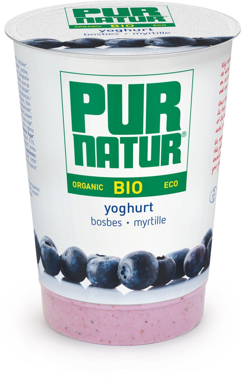 Biologische Pur Natur Yoghurt+Fruit Bosbessen 500 gr