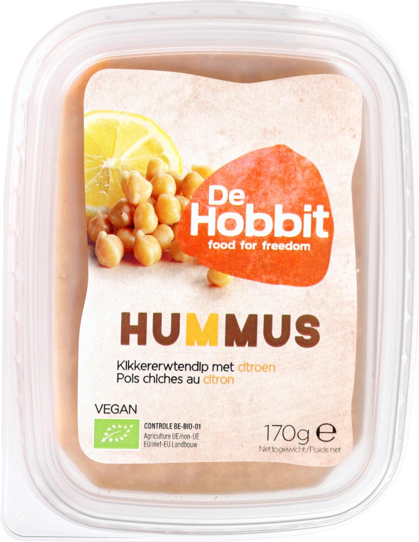 Biologische De Hobbit Hummus citroen 170 gr