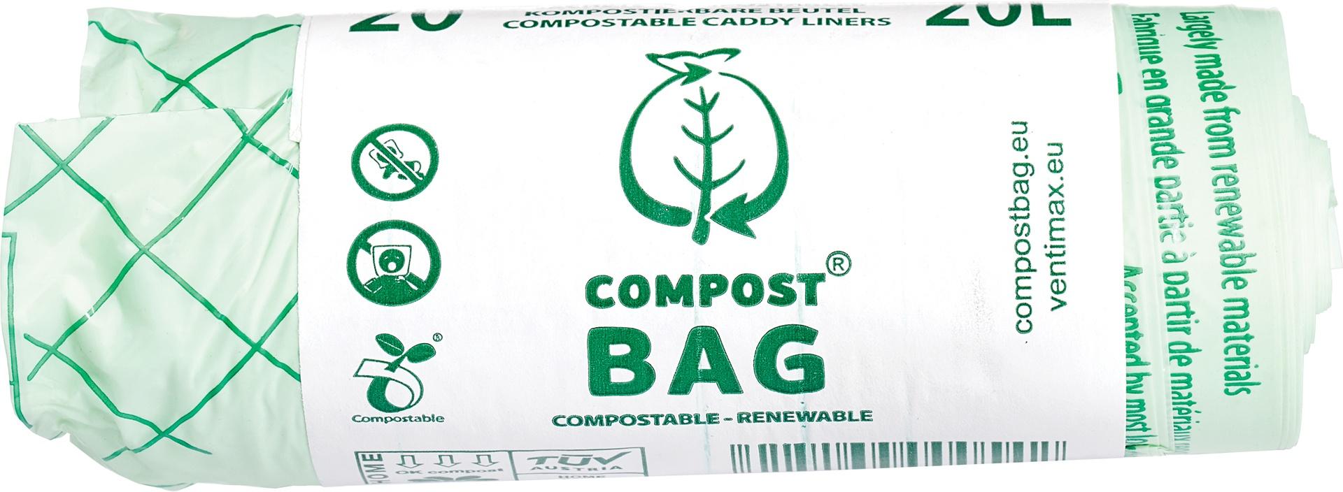 Biologische Compost Bag Afvalzak 20L composteerbaar 1 st