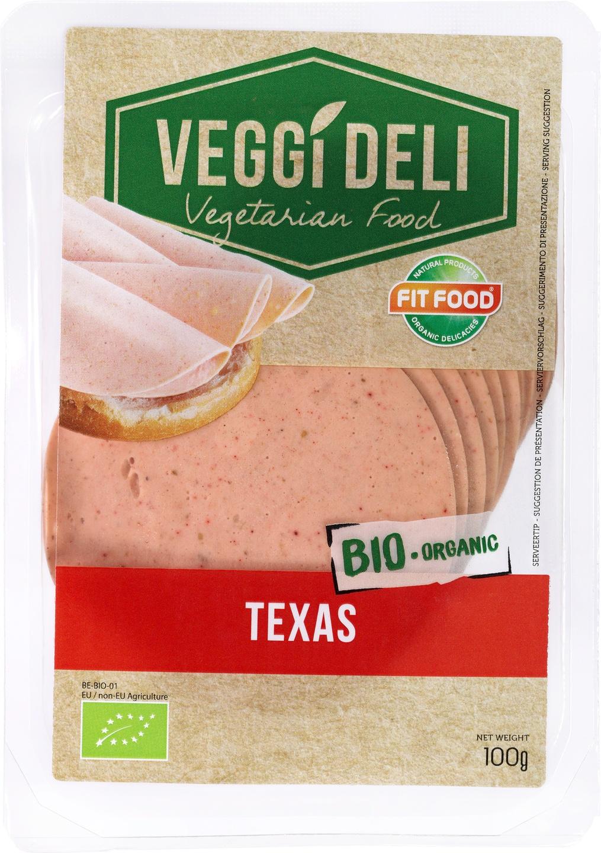 -13% SALE   Biologische FITFOOD Veggi Deli Vegetarisch broodbeleg Texas 100 gr