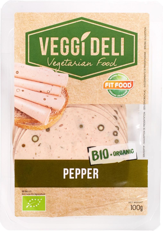 -13% SALE   Biologische FITFOOD Veggi Deli Vegetarisch broodbeleg peper 100 gr