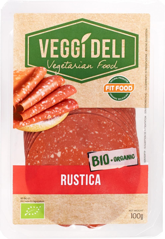 -13% SALE   Biologische FITFOOD Veggi Deli Vegetarisch broodbeleg salami 100 gr