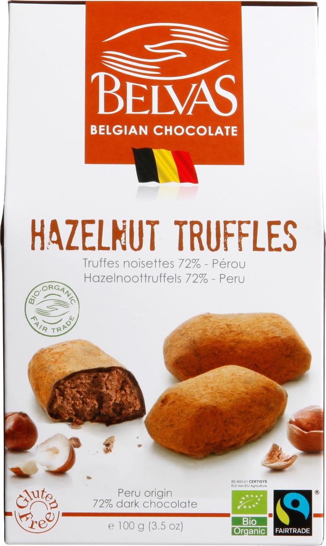 Biologische Belvas Chocoladetruffels - hazelnoot 100 gr