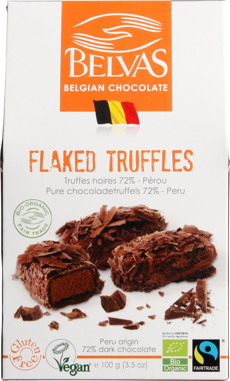 Biologische Belvas Chocoladetruffels 72% 100 gr