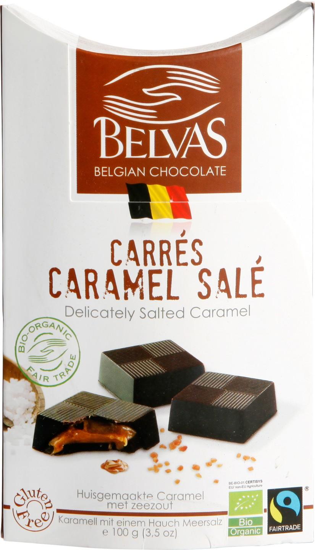 Biologische Belvas Chocolade bonbons - pure carrés gezouten caramel 100 gr