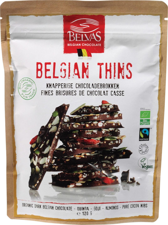 Biologische Belvas Pure chocolade - Belgian thins quinoa/goji 120 gr