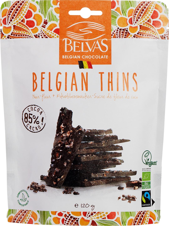 Biologische Belvas Pure chocolade - Belgian thins 120 gr