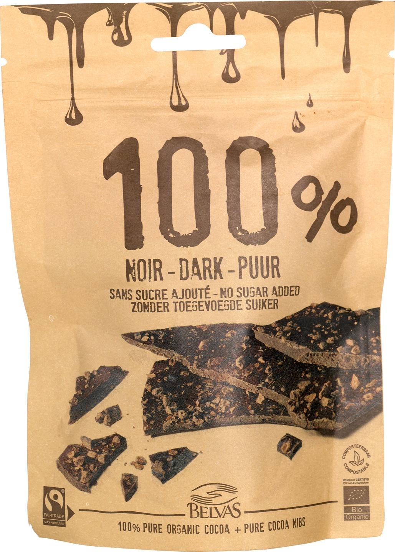 Biologische Belvas Pure chocolade 100% - Chocolate thins 80 gr