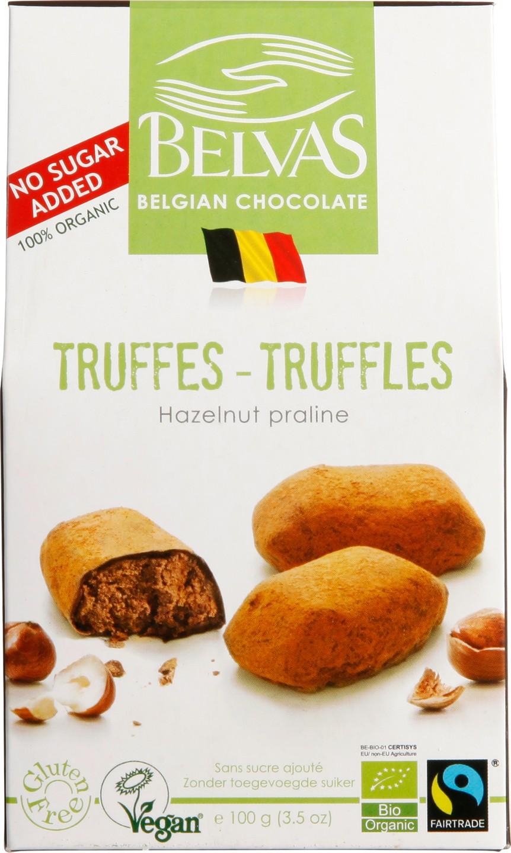 Biologische Belvas Hazelnoot-Praliné Truffels zonder suiker 100 gr