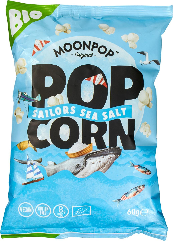 Biologische Moonpop Moonpop popcorn zeezout 60 gr