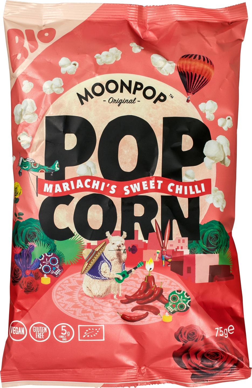 Biologische Moonpop Moonpop Popcorn Sweet Chili 75 gr