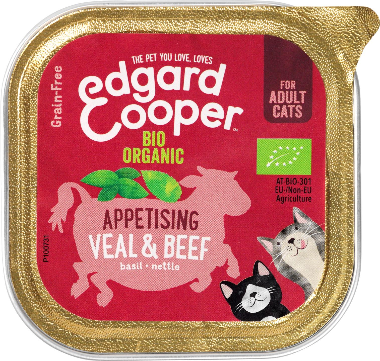 Biologische Edgard&cooper Kat natvoer rund/kalf 85 gr