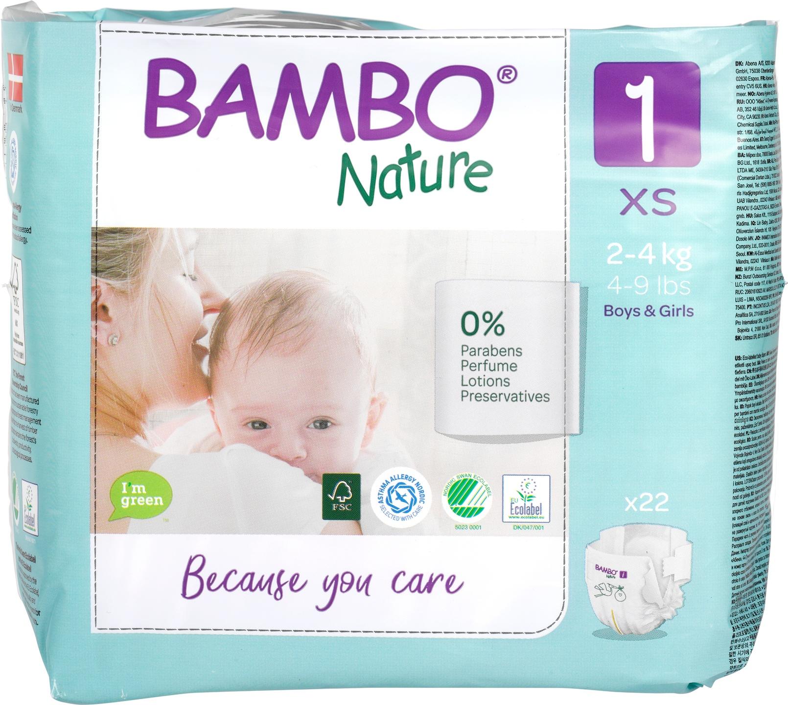 Biologische Bambo Nature Luiers 1 (2-4 kg) 22 st