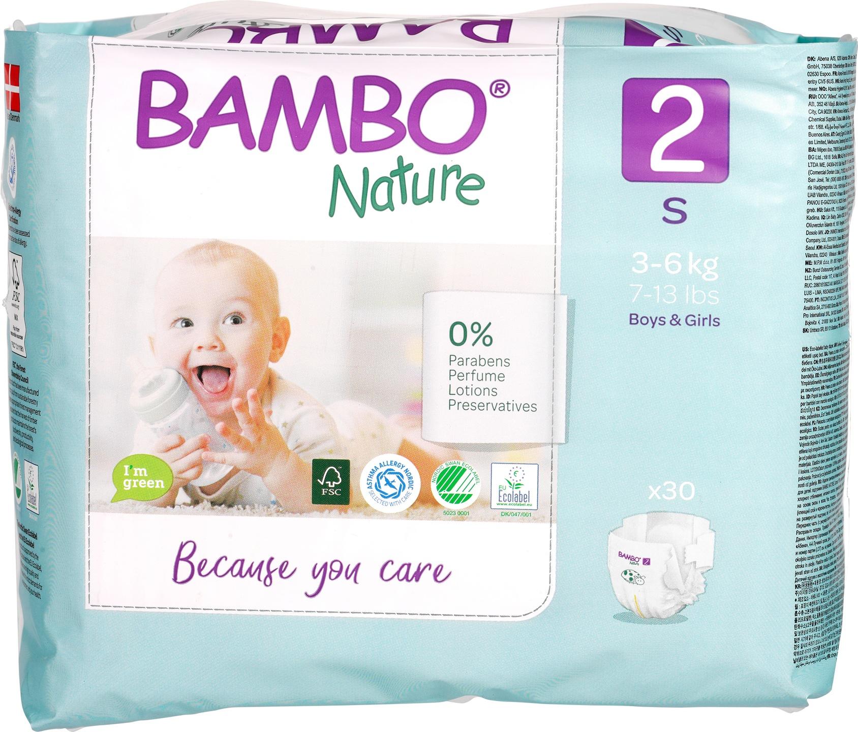 Biologische Bambo Nature Mini luier 2 (3-6kg) 30 st
