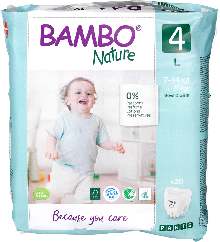 Biologische Bambo Nature Maxi luierbroekje 4 (7-14kg) 20 st