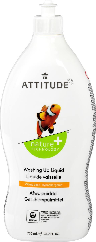 Biologische Attitude Afwasmiddel citroenrasp 700 ml