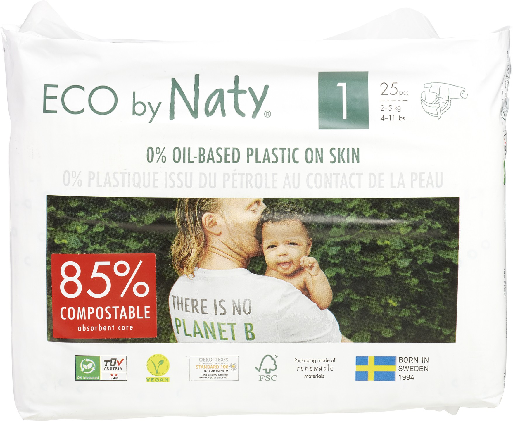 Biologische Naty Luiers 1 newborn 2-5 kg. 25 st