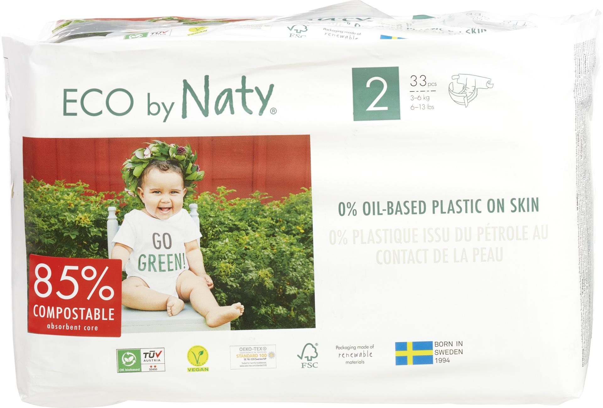 Biologische Naty Luiers 2 mini 3-6 kg. 33 st