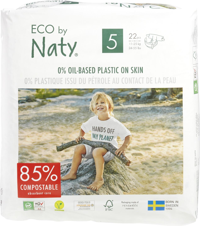 -20% SALE | Biologische Naty Luiers 5 junior 11-25 kg. 22 st