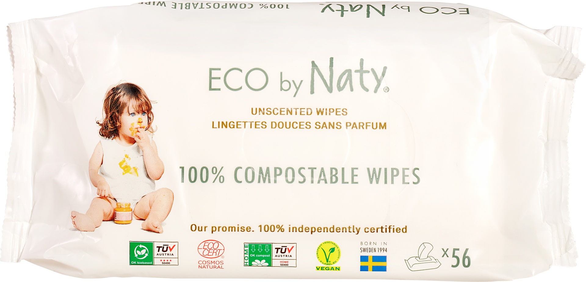 Biologische Naty Naty babydoekjes geurvrij 56 st