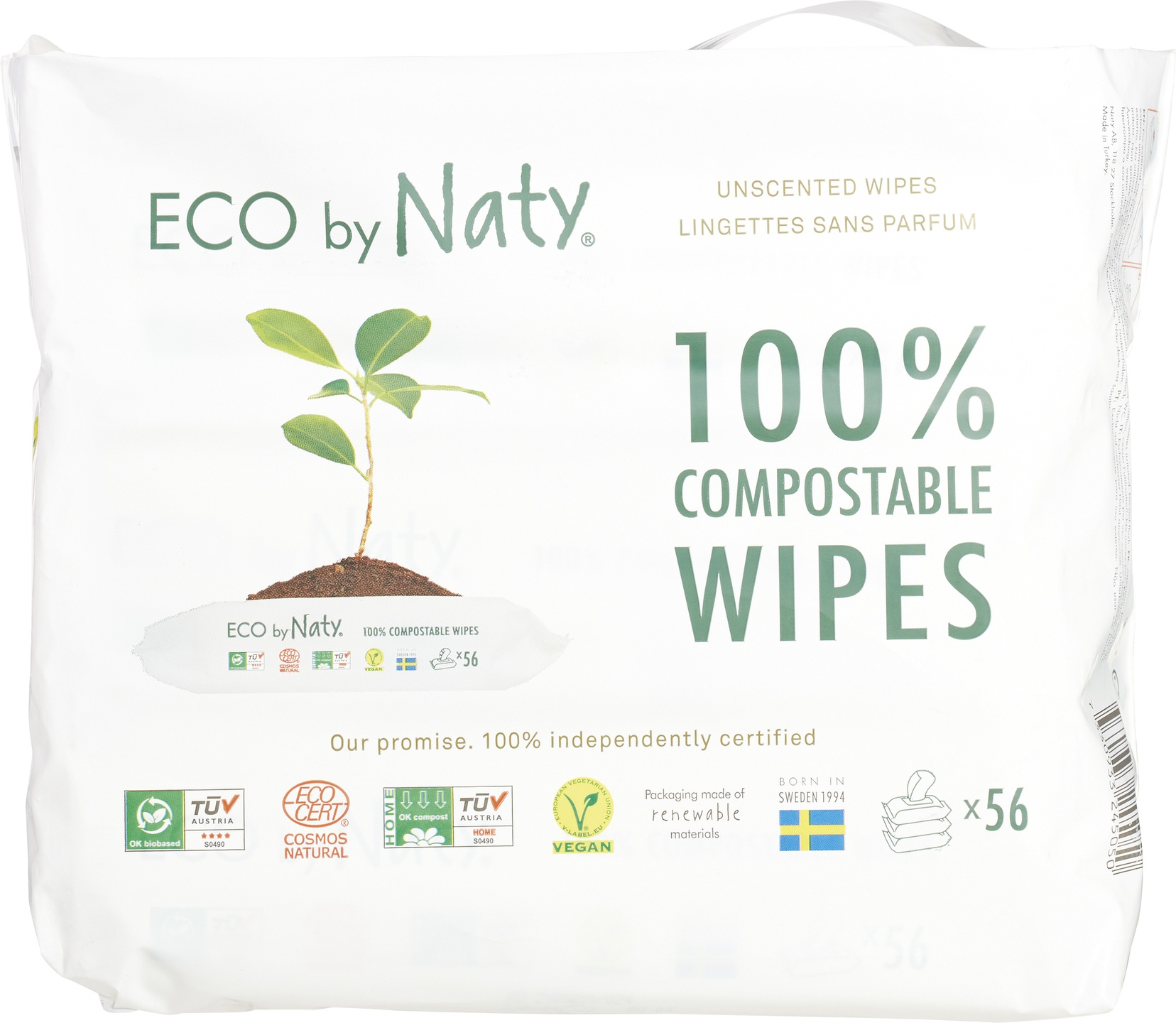 Biologische Naty Sensitive wipes unscented 3-pack 168 st