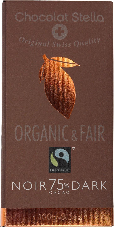 Biologische Chocolat Stella Pure chocolade 75% 100 gr
