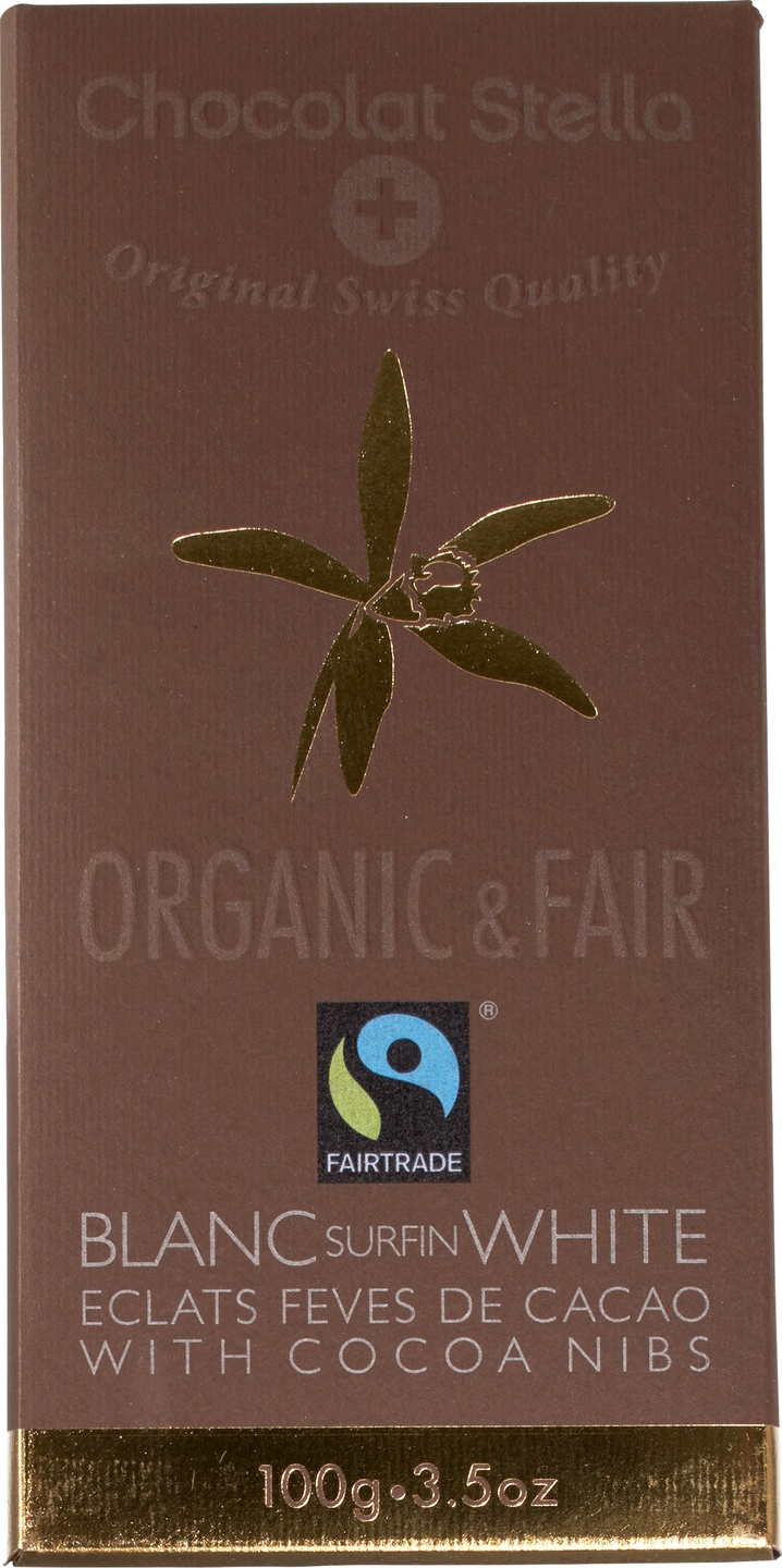 Biologische Chocolat Stella White chocolate with cocoa nibs 100 gr