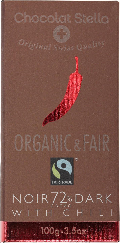 Biologische Chocolat Stella Pure chocolade 72% - chili 100 gr