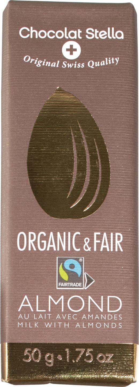 Biologische Chocolat Stella Organic & Fair Milk-Almond 50 gr