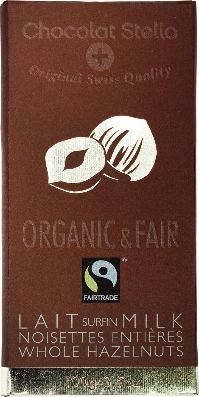 Biologische Chocolat Stella Melkchocolade - hazelnoot 100 gr