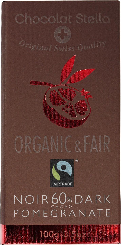 Biologische Chocolat Stella Pure chocolade 60% - granaatappel 100 gr