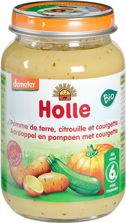 Biologische Holle Babyhapje courgette/ pompoen/aardappel 6+ mnd 190 gr