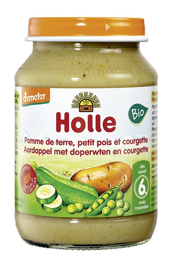 Biologische Holle Babyhapje aardappel /doperwt/courgette 6+ mnd 220 gr