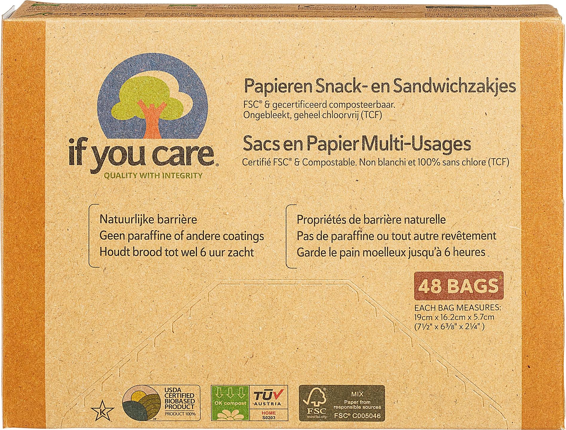 Biologische If You Care Sandwichzakjes papier 48 st