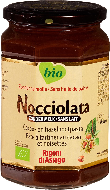 Biologische Nocciolata Choco-hazelnootpasta zonder melk 700 gr