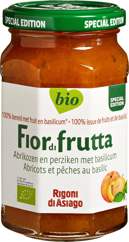 -23% SALE   Biologische Fiordifrutta Abrikoos perzik basilicum fruitbeleg 250 gr