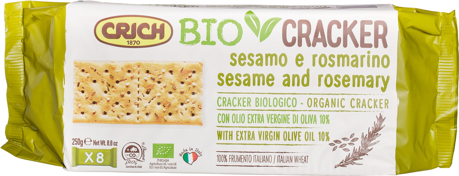 Biologische Crich BioCracker sesam-rozemarijn 250 gr
