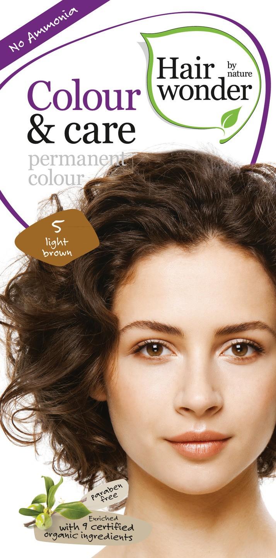 Biologische Hairwonder Colour & Care Light brown 5 100 ml