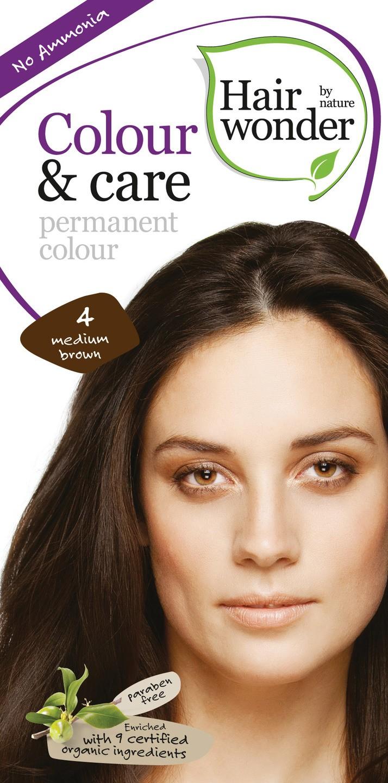 Biologische Hairwonder Colour & Care Medium brown 4 100 ml