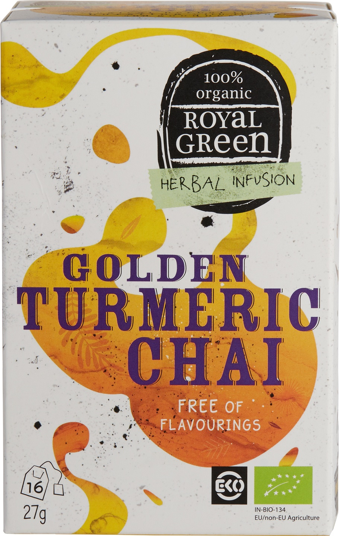 Biologische Royal Green Kruidenthee chai kurkuma 16 st