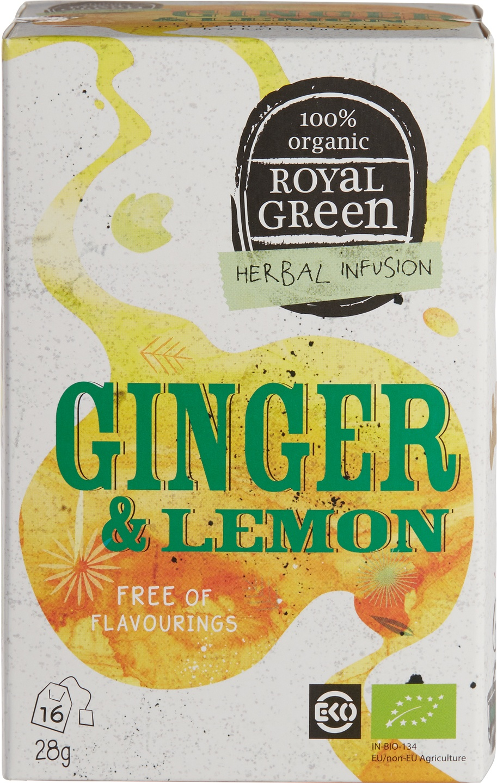 Biologische Royal Green Kruidenthee gember citroen 16 st